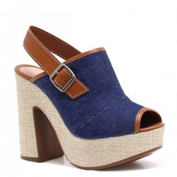 cc0f523f7 Sandália Tanara Plataforma Jeans Fivela