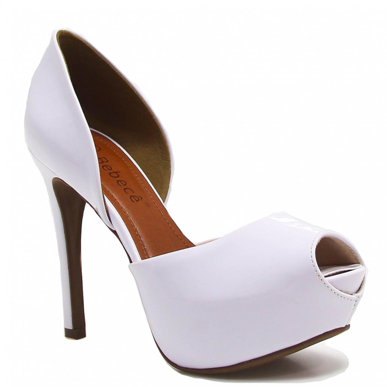 3a788b02c Sapato Bebecê Peep Toe Verniz