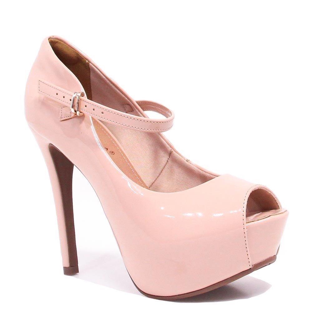 4caca833a1 Sapato Bebecê Peep Toe Verniz